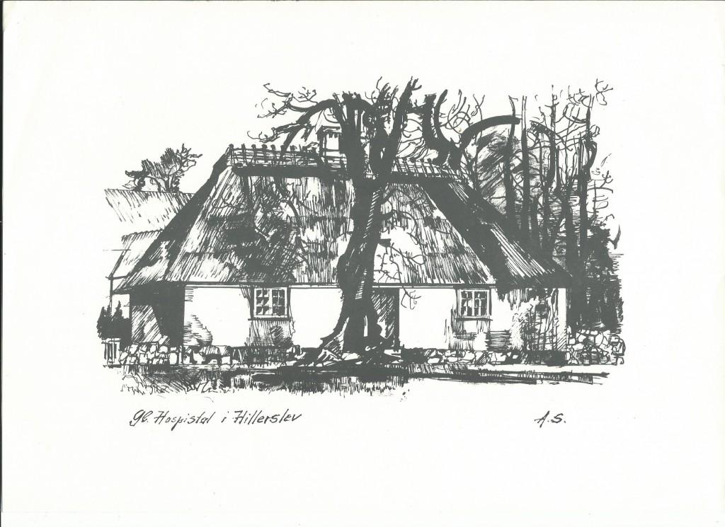 tegning af det gamle hospital i Hillerslev